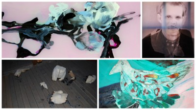 Ylhäällä vasemmalla Elina Ruohosen pleksimaalaus, oikealla Vesa Aaltosen valokuvateos, alhaalla vasemmalla Laura Halosen installaatio ja oikealla osa Henna Ahon maalauksesta.